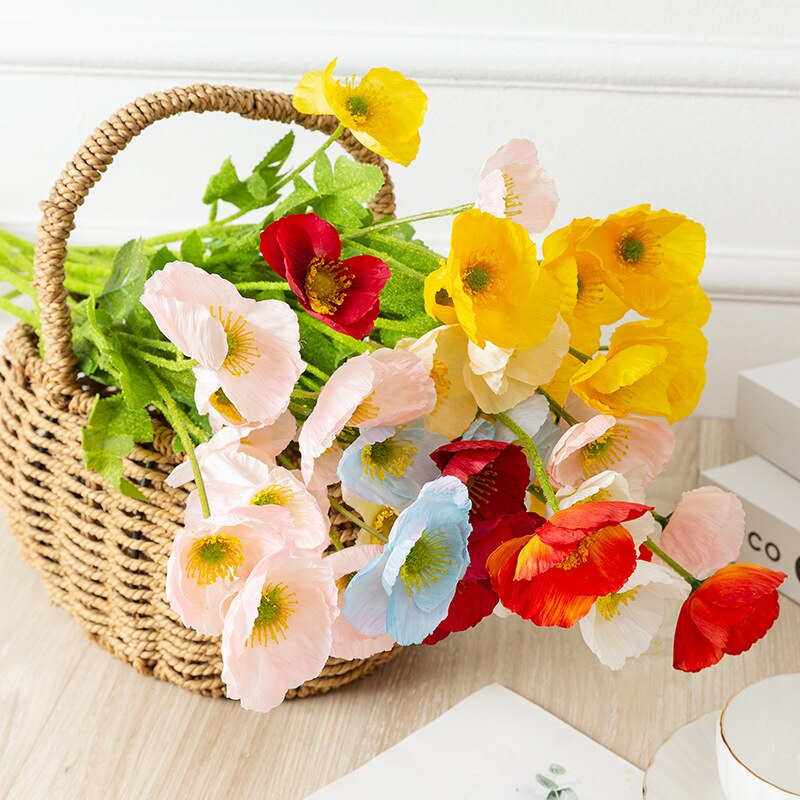 Tulip Rose Corn Poppy Daisy Artificial Flower DIY Potted Plant Wedding Birthday Party Holiday Home Decoration Accessories