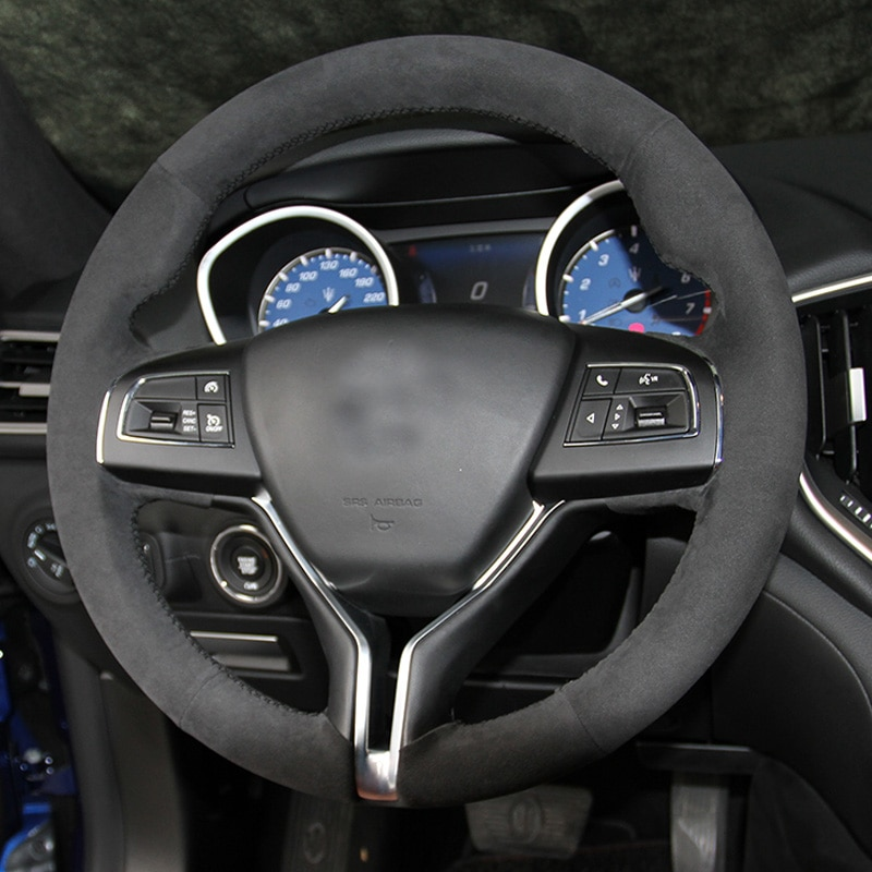 Cubierta superior de gamuza para volante de coche DIY hecha a mano para Maserati Ghibli Levante Quattroporte GT