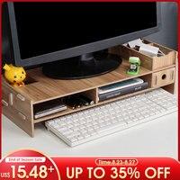 Деревянный держатель для монитора, настольная подставка для компьютера, полка для хранения, подставка для ноутбука, стойка для экрана планш...