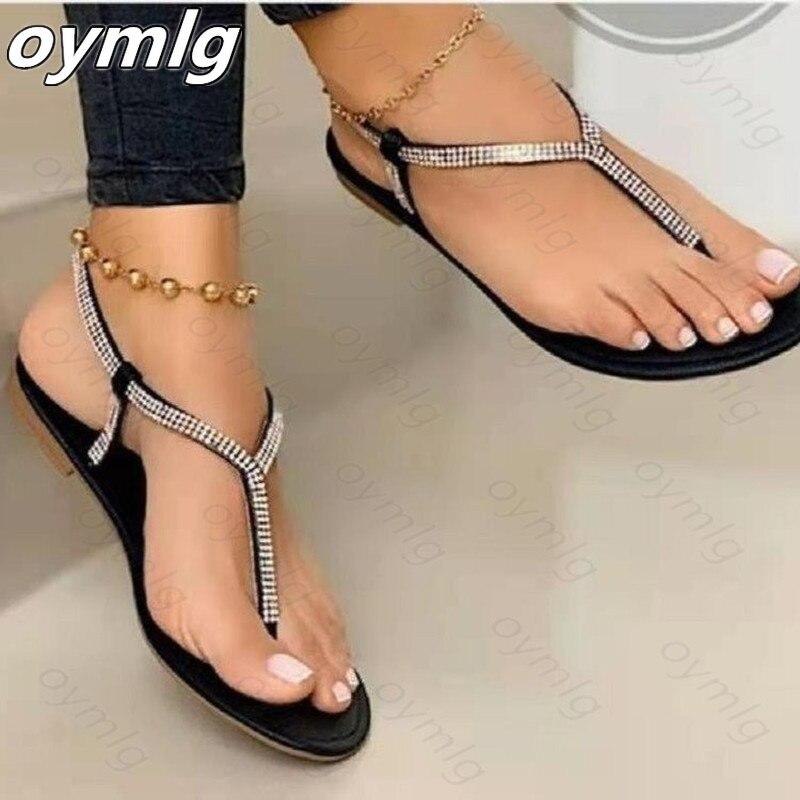 2021 Summer New Womens Sandals Rhinestone Toe Clip Roman Style Flat Heels Casual Beach Slippers Zapatillas Mujer Casa