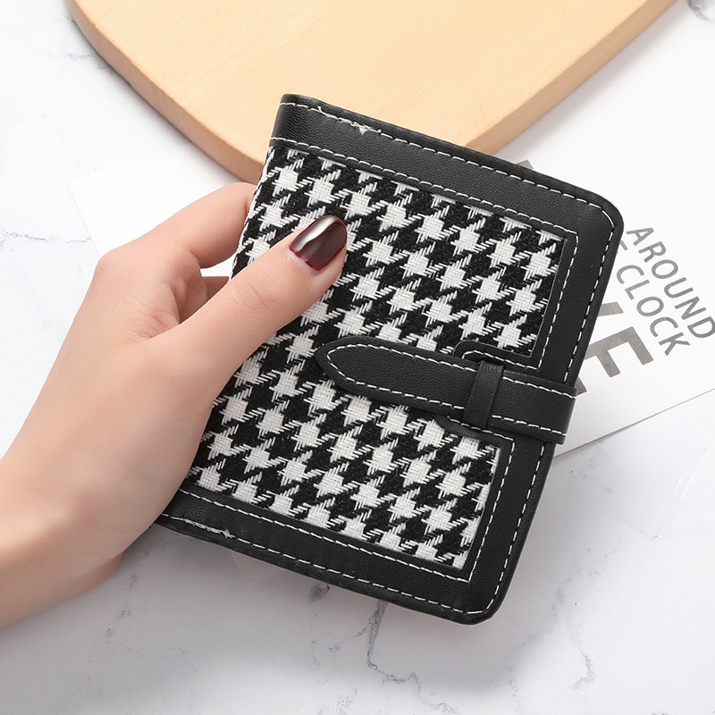 2021 Trend houndstooth Women's purse Leather small woman wallet Short purses for women coins and cards Brand Cheap money bag
