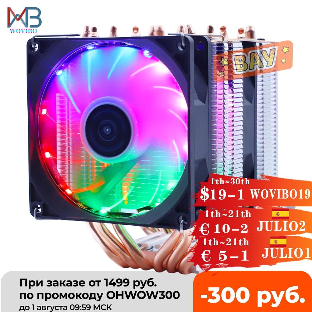 6 Heatpipes RGB وحدة المعالجة المركزية برودة المبرد الصامت PWM 4PIN 130W ل إنتل LGA 1150 1151 1155 1200 1366 2011 X79 X99 AM3 AM4 Ventilador