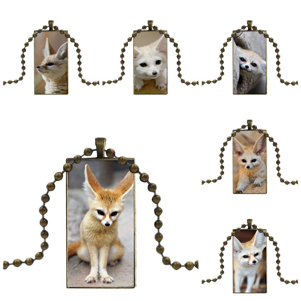 EJ Glaze para niños cuentas Fennec cabujón de cristal de Color bronce de zorro con forma de rectángulo colgante gargantilla collar