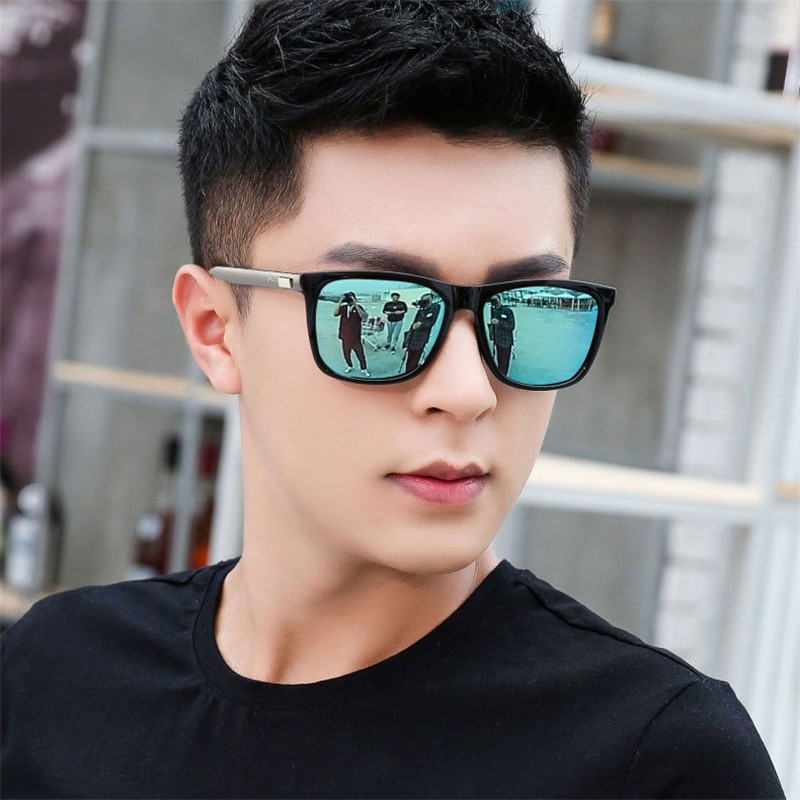 2020 Male Eyeglasses Square Reflective Sunglaases Men New Silver Black Sun Glasses Mirror Lens Vinta
