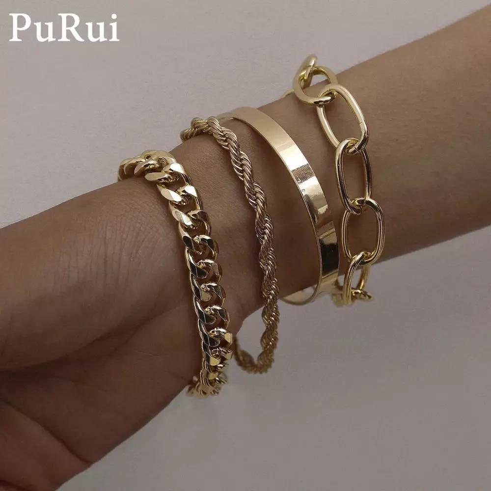 PuRui 4pcs Punk Curb Cuban Chain Bracelets Set for Women Miami Boho Thick Gold Color Charm Bracelets