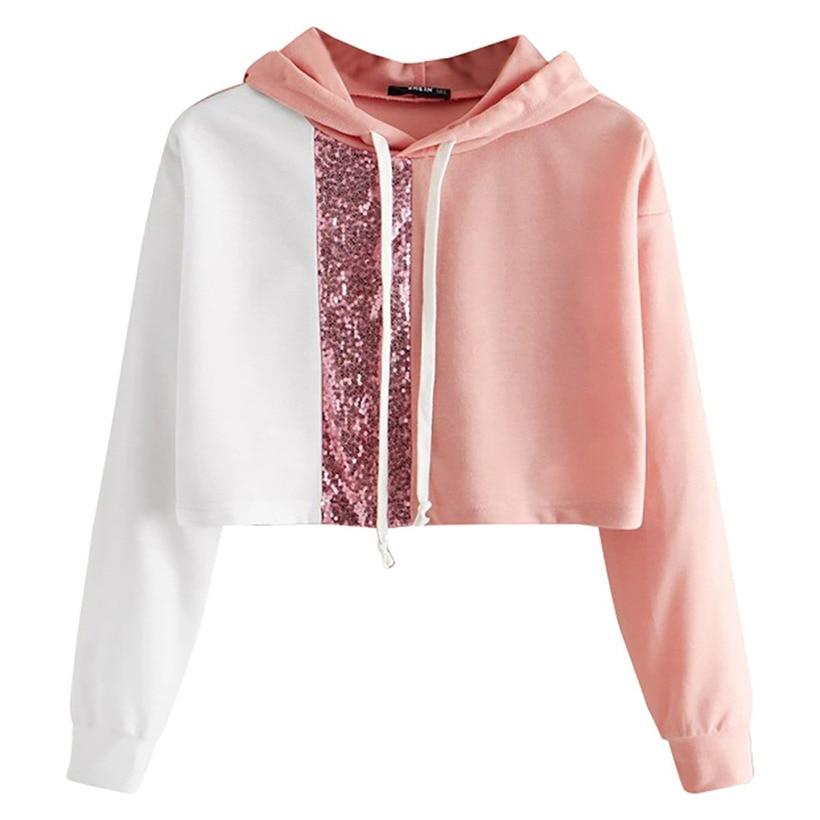 KLV mujeres sudaderas de moda corta mujeres sueltas de manga larga Color sólido empalme cordón jersey de lentejuelas camisetas