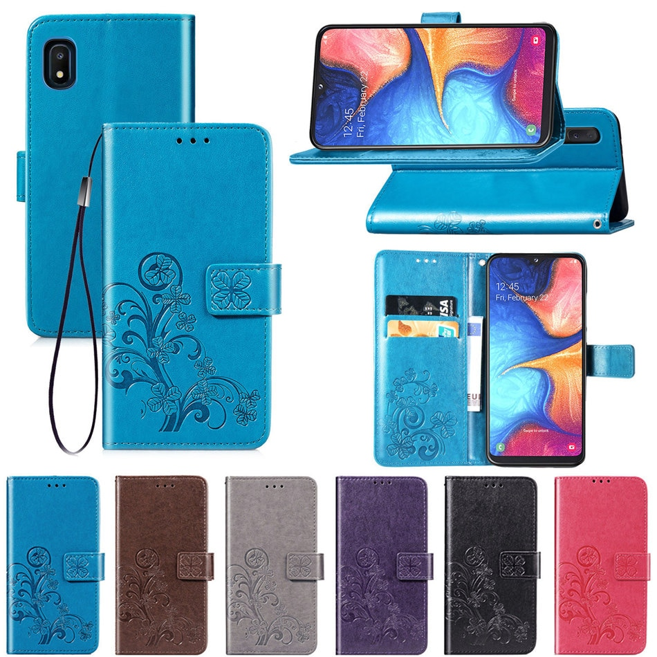Bonito Embossing Trevo Cases Para Samsung Galaxy j3 j5 j7 A3 A5 A7 2017 J1 2016 S3 A720 A520 A320 cartão da carteira de Bolso Capa D05E