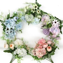 7 köpfe Hortensien Blumen Künstliche Bouquet Silk Blühende Gefälschte Pfingstrose Braut Hand Blume Rosen Hochzeit Mittelstücke Decor