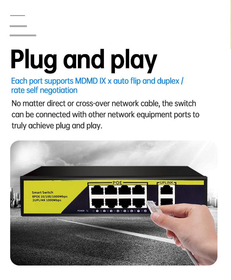 10Port POE Gigabit Switch 48V VLAN 10/100/1000Mbps 8 poe 1000M port+2uplink port Network Switch for CCTV IP Camera Wireless AP enlarge