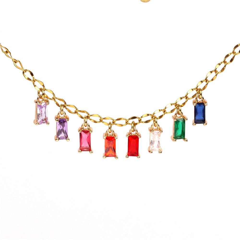 Liga de metal elegante colar colar colorido delicado pendurado colar para mulheres moda festa jóias atacado