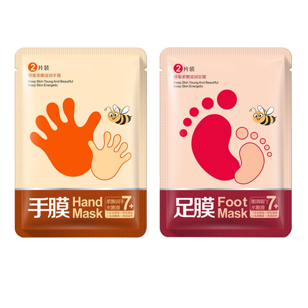 1Pair Hand/Foot Mask Honey Exfoliate Dead Skin Remove Moisturizing Whitening Peeling Hand Foot Spa