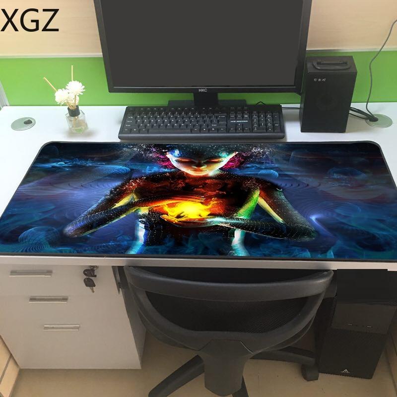 XGZ Fantasy World Girl Custom Black Lock-edge Mousepad  XxL Oversized Large Gamer Game Keyboard Pad Computer Tablet Mouse
