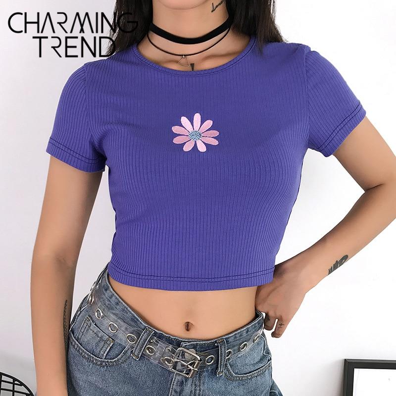 Charmingtrend Women Cute Crop Top Summer Daisy Floral Embroidery Tee Tops Short Sleeve Streetwear Tops Chic Girls Women T Shirts