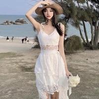 2021 summer korean new white women sleeveless vintage sexy dress bandage design sweet elegant fashion strap dress beach dress