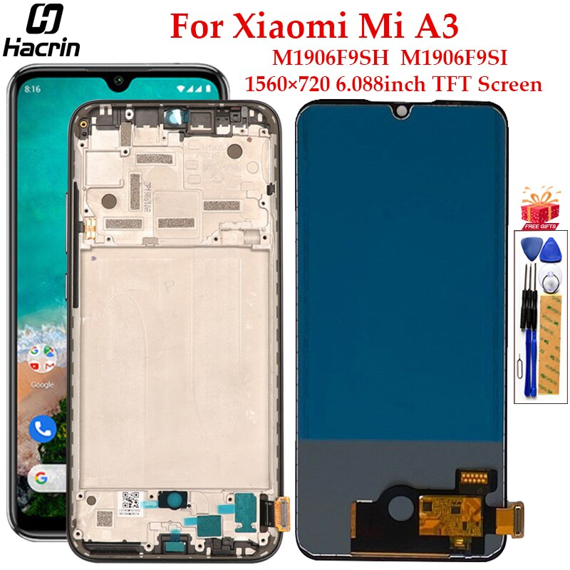 TFT Display For Xiaomi Mi A3 LCD Display With Frame Touch Screen Replacement Digitizer Assembly For Xiaomi Mi A3 A 3 LCD Display недорого