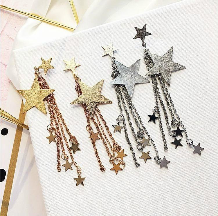 Pendientes de estrella de pentagrama de 13cm para Mujer, aretes largos de...