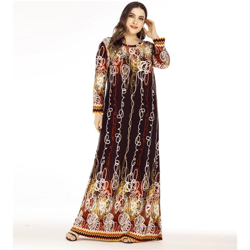 Vestido Maxi musulmán de manga larga, cuello redondo, prenda islámica, Turquía, árabe, informal, holgado, tallas grandes 6XL K642, 2020