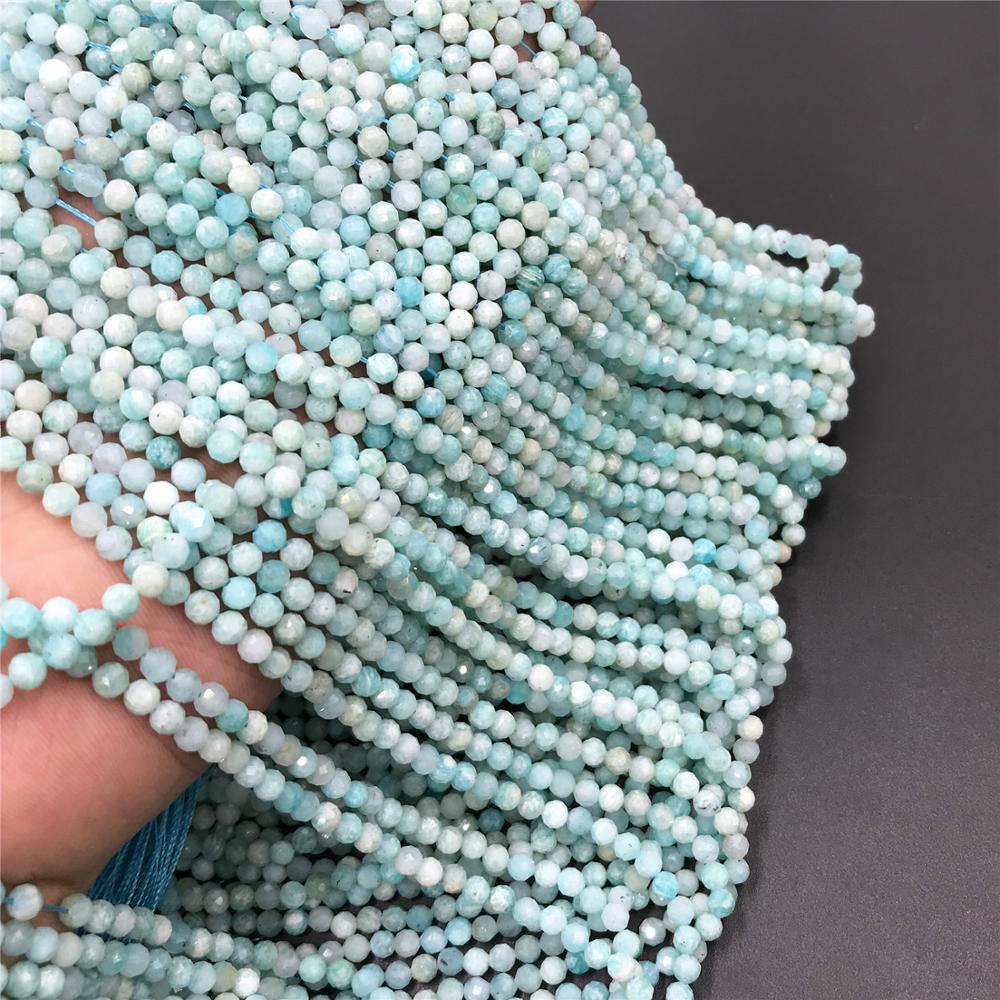 Cuentas de piedra pequeñas naturales cuentas de amazonita sección pequeña azul cuentas sueltas fabricación de joyas collar de pulsera 2 cuentas de 3mm diy