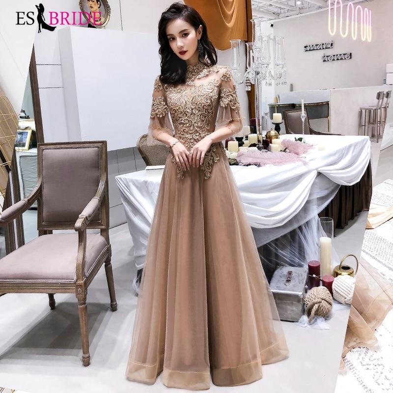 Elegant Champagne Evening Dresses Long ES30366 A-Line  Boat-Nack Lace Formal Dresses Robe De Soiree