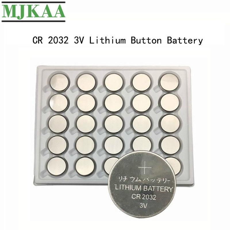 Pilas de botón MJKAA de 25 uds CR2032 3 V BR2032 DL2032 ECR2032 batería de pila de moneda de litio 3 V CR 2032 para reloj remoto de juguete