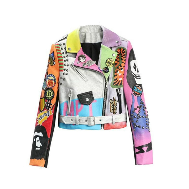 Fashion Rivet Bead Pu Leather Jacket Women Hit Color Street Style Graffiti Jacket Letter Print Leather Jacket Women enlarge