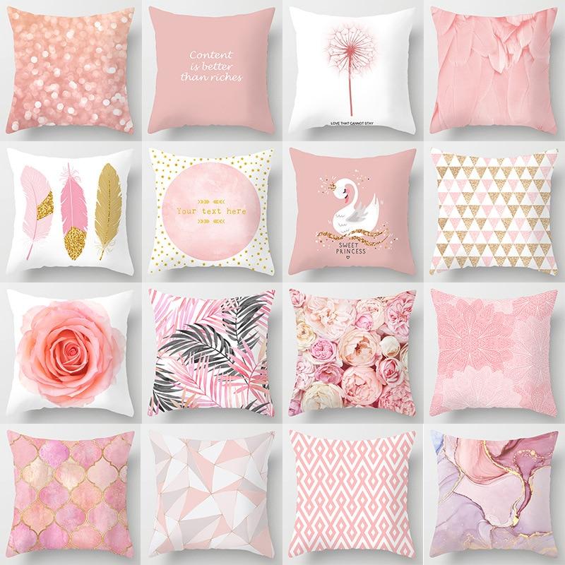 Pink Feather Pillowcase Decorative Sofa Cushion Case Bed Pillow Cover Home Decor Car Cushion Cover C