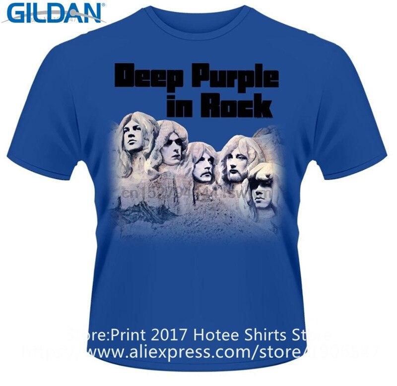 Camisetas con diseño de cuello redondo de manga corta de color púrpura profundo en Rock para hombre