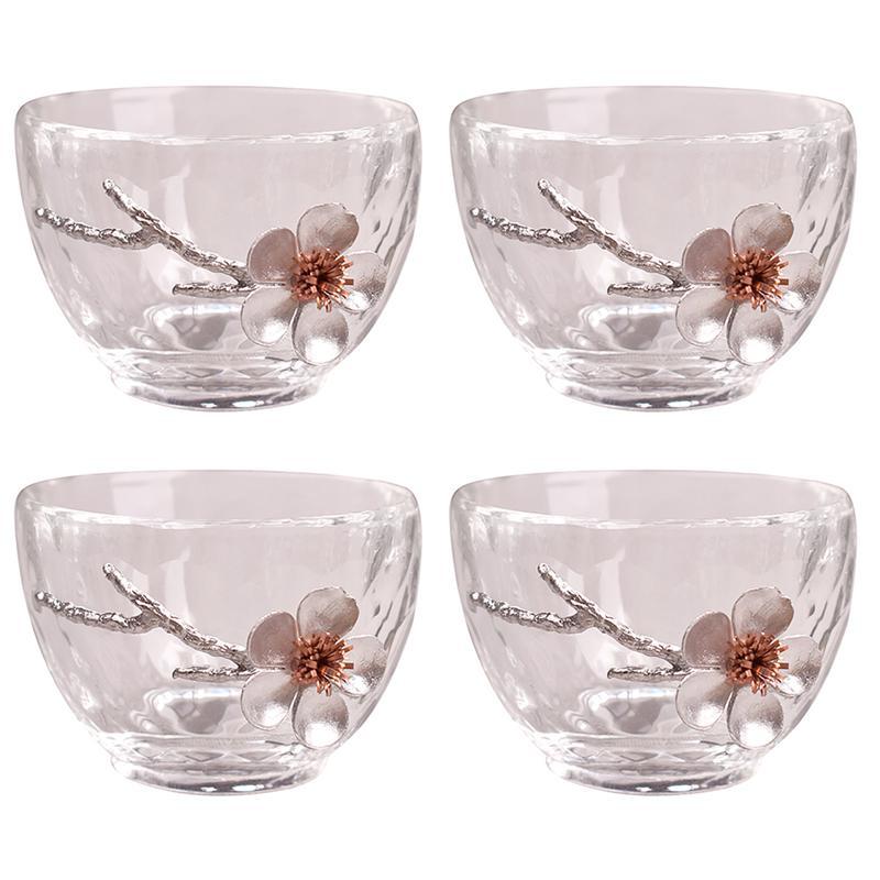 4 قطعة النمط الياباني فنجان شاي مقاومة للحرارة شرب كوب زهرة البرقوق كأس النبيذ المطبخ teبينة شرب أكواب الزينة