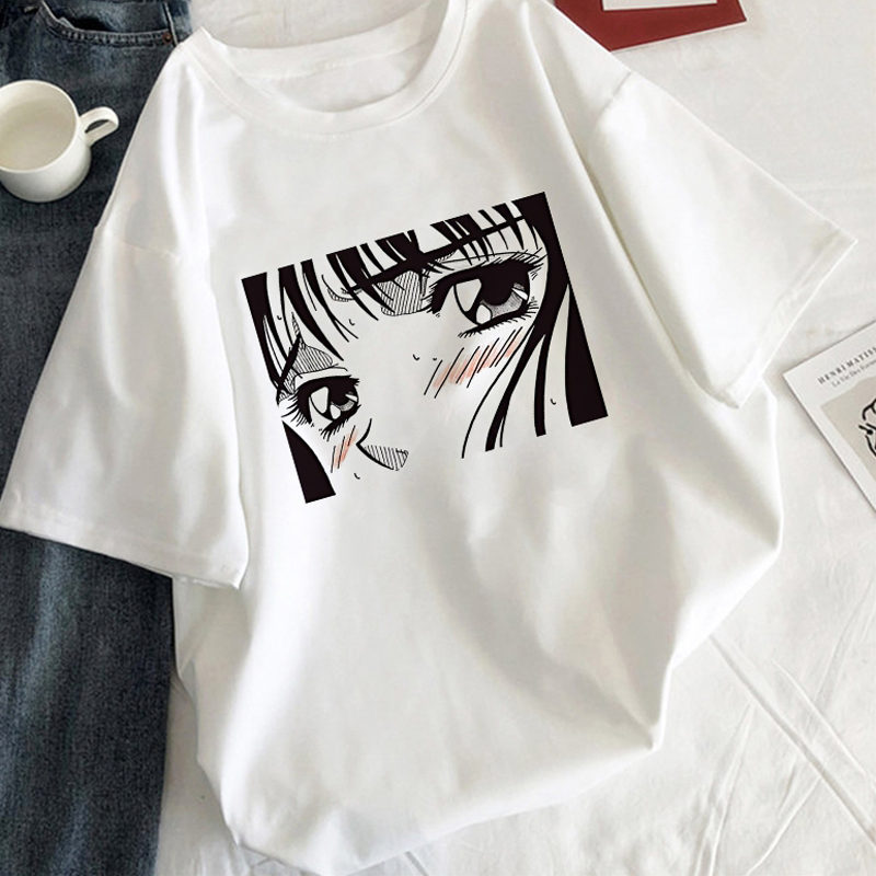 Tearful Girl T-shirt estético coreano estilo blanco camiseta femenina gráficos Harajuku Tee negro Manga camiseta Anime mujeres ropa