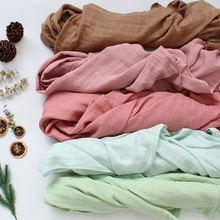 Mantas suaves de muselina para bebé, de algodón de bambú, Color sólido, suave y transpirable Toalla de baño, envoltura para bebé, 120x120cm