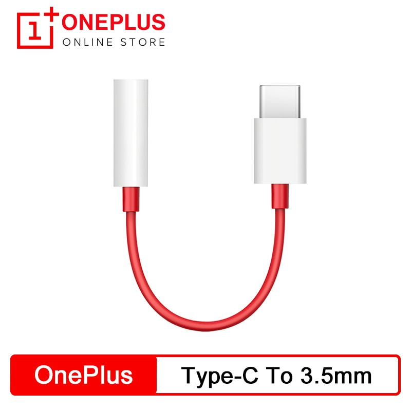 Oneplus Original adaptador de conector de auriculares tipo-C a de 3,5mm para auriculares Cable Convertidor para OnePlus 6T 7 7Pro 7T 7T Pro 8 8Pro