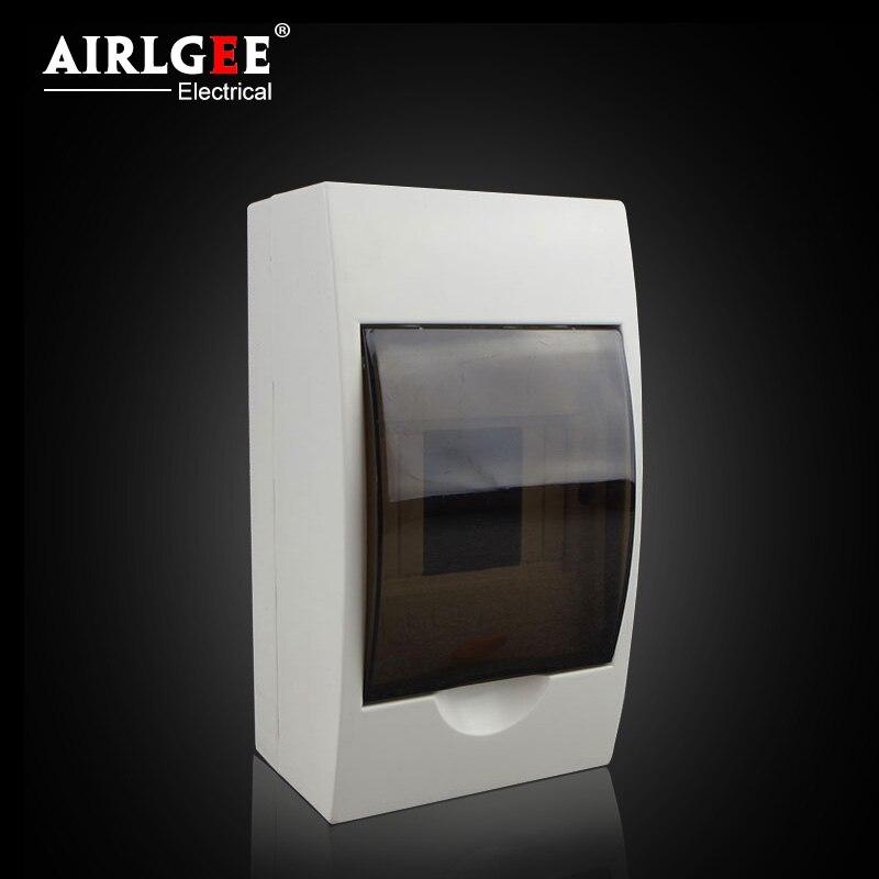 Caja de distribución de 4 formas, caja Disyuntor de aire de plástico montada en superficie, iluminación para el hogar, caja eléctrica fuerte