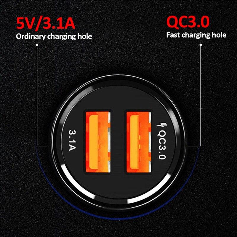 1 Uds. Cargador de coche enchufe de encendedor de coche QC3.0 Universal Dual USB de carga rápida cargador de coche adaptador de enchufe accesorios de coche
