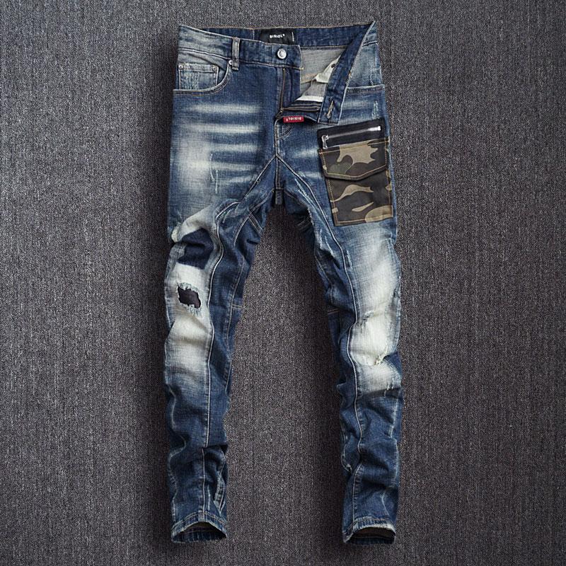 Европейские и американские уличные модные мужские джинсы, синие узкие рваные джинсы в стиле ретро, мужские камуфляжные дизайнерские брюки ...