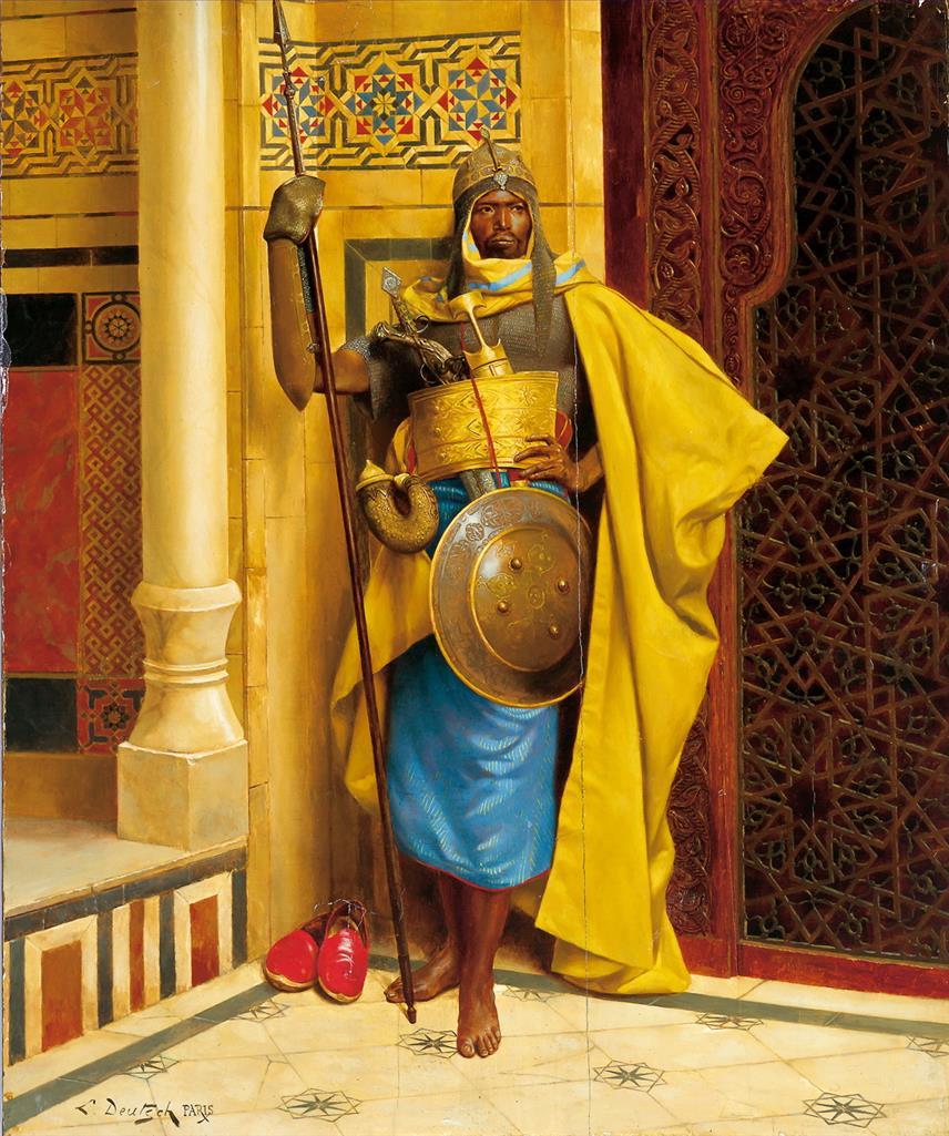 5 pinturas de arte pintadas a mano por profesores universitarios-Nubian Palace Guard...