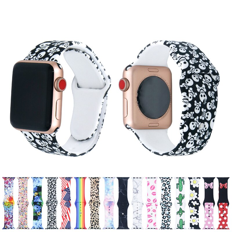 AliExpress - Tye Dye for Apple Watch Band For Apple Sport Loop Printed Silicone Strap For Apple Watch Band 44mm 40mm 38mm 42mm Accessories