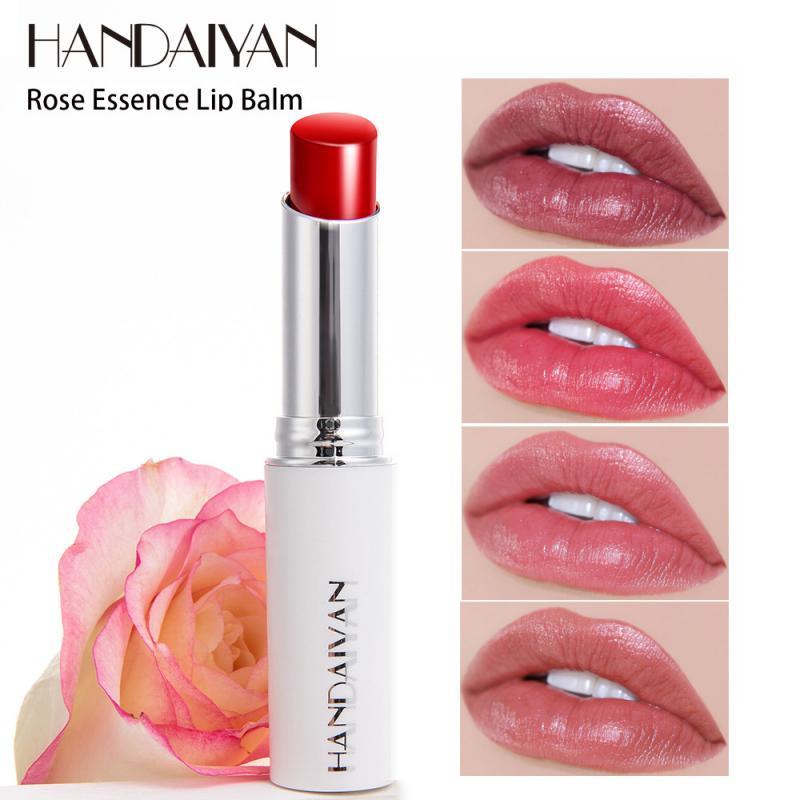 HANDAIYAN Rose Essence rojo mate lápiz labial nutritivo bálsamo labial para el invierno hidratante impermeable duradera labios maquillaje labios TSLM1