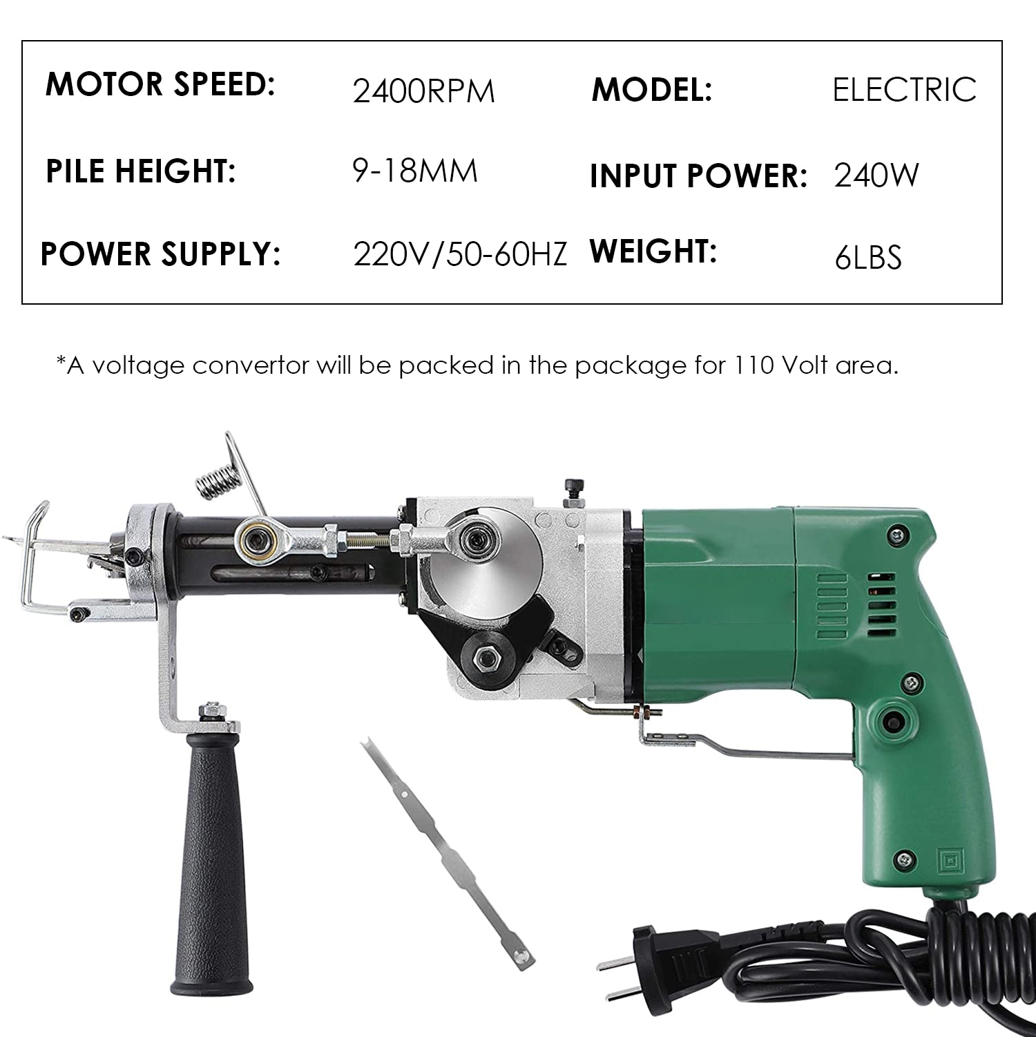 2400RPM Electric Hand Tufting Gun Manual Rug Machines ( Can Do Both Cut Pile And Loop Pile ) 220V enlarge