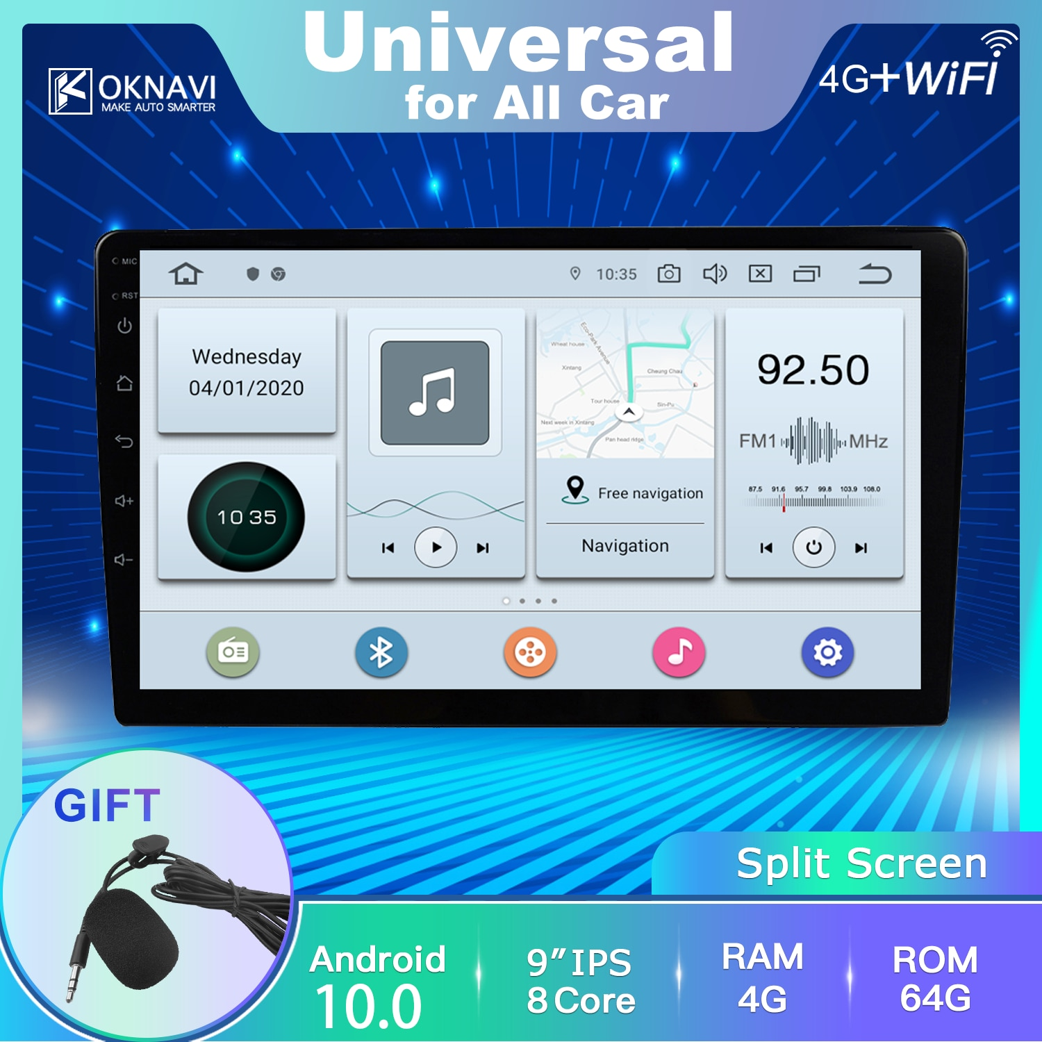 Car Radio Multimedia Player Universal Android 10 DSP Bluetooth Accessories Support Dvr No 2 Din RCA Power Connector Microphone