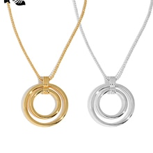 S'STEEL Sterling 925 Silver Circle Pendant Necklace Gifts For Women Trendy Gold Long Chain Geometric