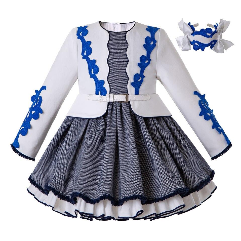 Pettigirl/платья из двух предметов для девочек; осеннее платье с головной убор; белое платье принцессы; одежда для детей; G-DMGD206-148