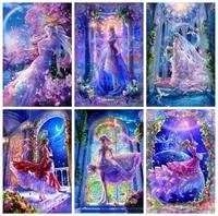 5d diy diamond painting pretty princess tale girl diamond embroidery purple romantic fantasy full rhinestone mosaic cross stitch