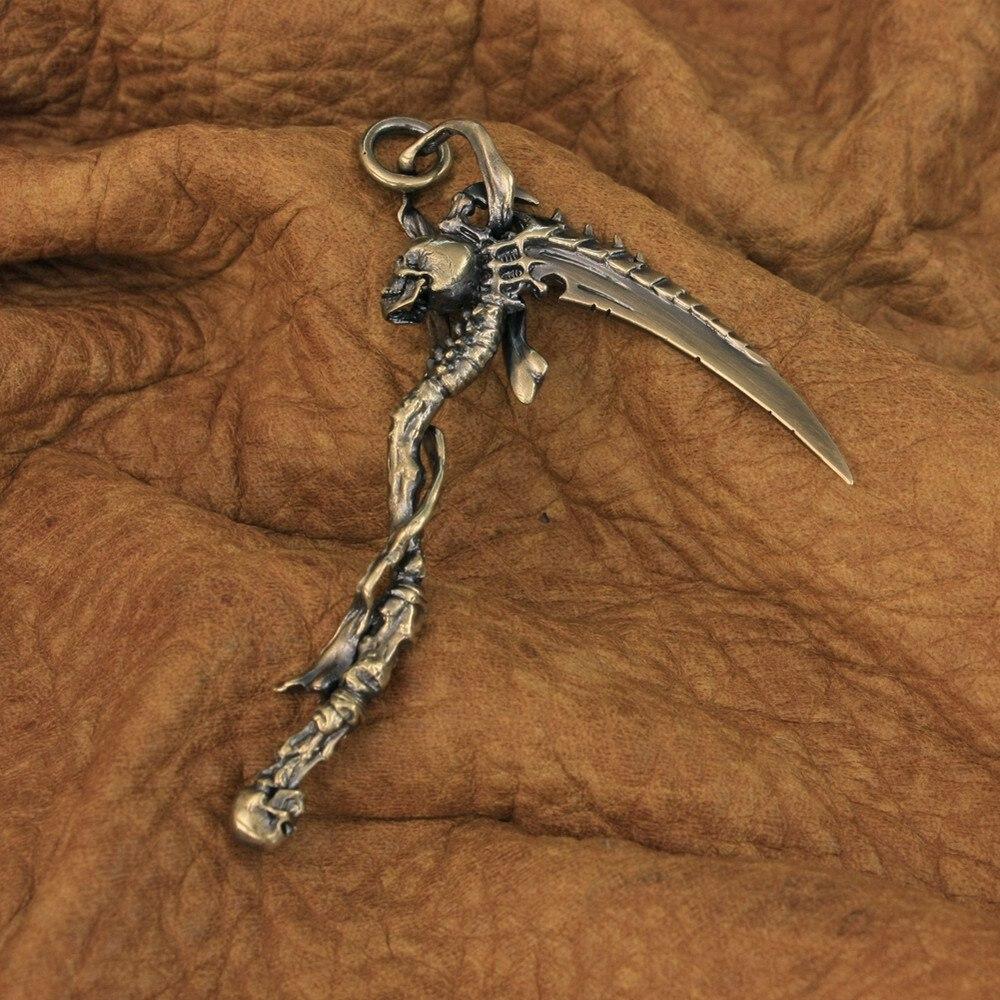 LINSION النحاس قابض ريبر الجمجمة المنجل المنجل قلادة تفاصيل عالية رجالي السائق روك مجوهرات بسيطة BR22 JP