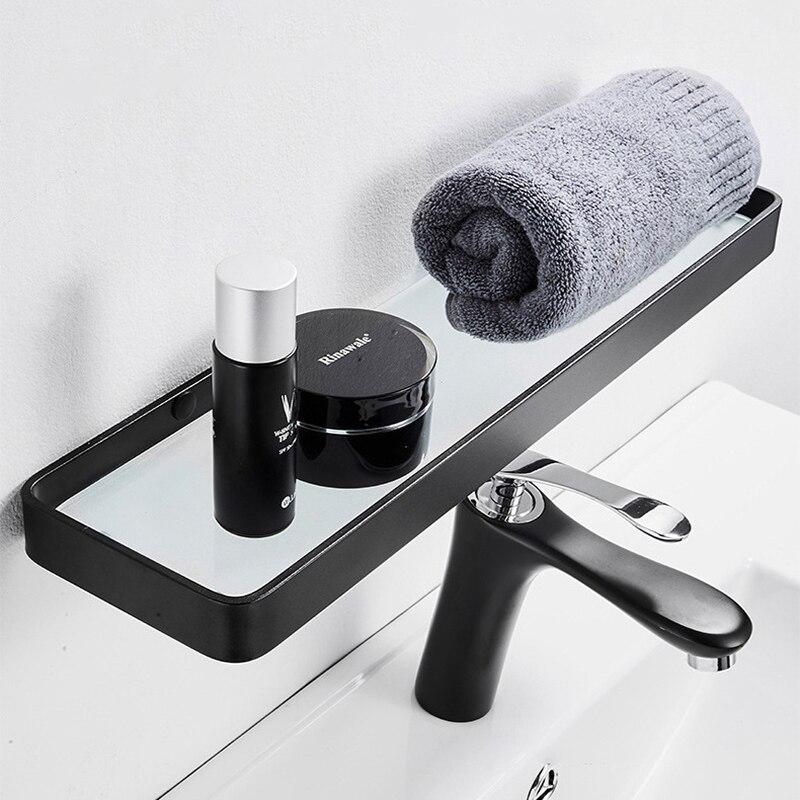 رفوف الحمام تخزين الرف الأسود الفضاء الألومنيوم طبقة واحدة الجرف الشامبو الجرف رف مطبخ رف حمام تخزين المطبخ
