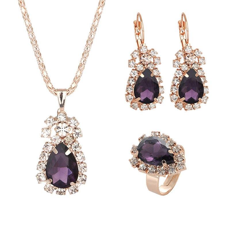 CBO10-طقم مجوهرات نسائي ، عقد ، أقراط ، خاتم ، كريستال ، موضة ، رابط هدية للمشتري