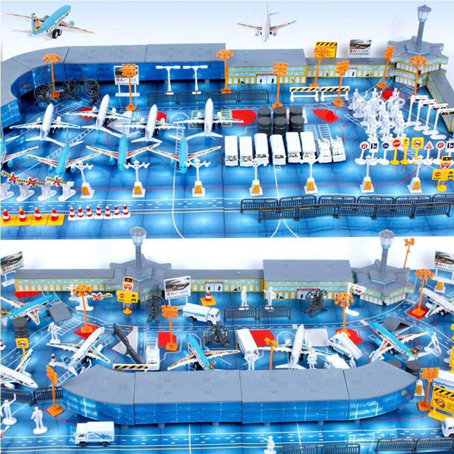 200 piezas de aviones de juguete ensamblados en aeropuerto y vehículos, modelo de avión, juego de simulación de escena, Kit de modelo educativo