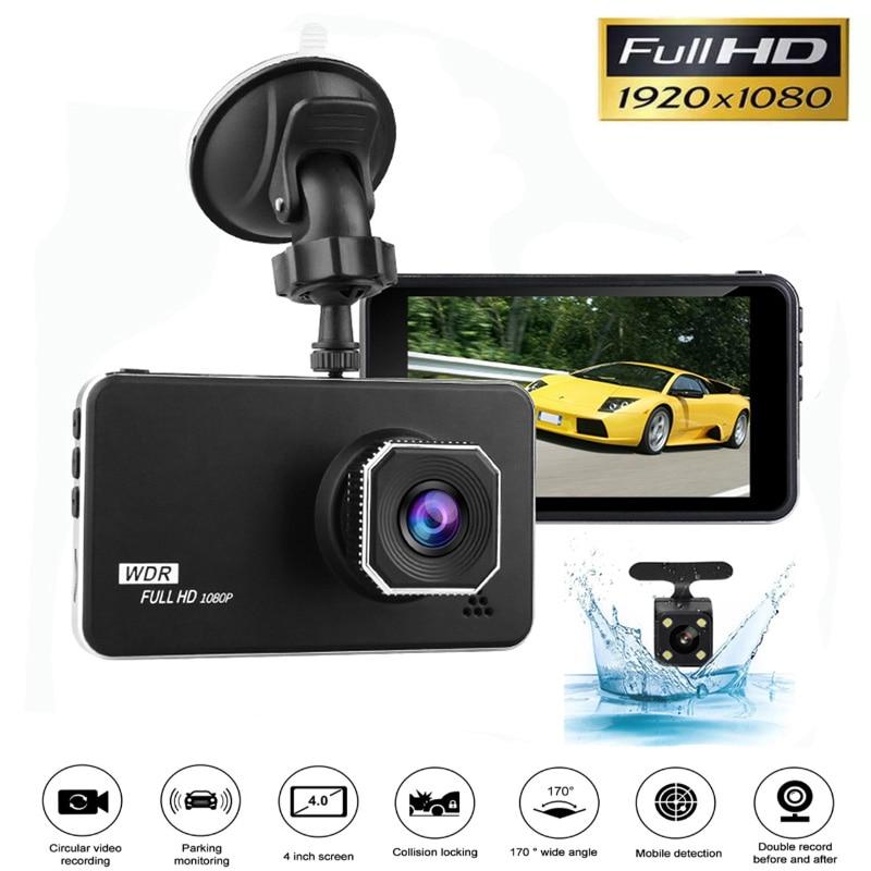 Cámara de coche Auto DVR 4 pulgadas FHD 1920x1080P WDR cámara de salpicadero lente Dual visión nocturna aparcamiento Monitor Dashcam g-sensor coche DVR AK-L62C