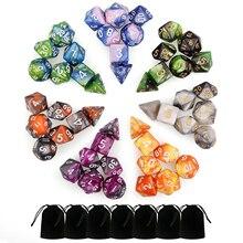 7 Set 49 pièces couleurs assorties dés polyèdre numéro jeu dés 7 Style D4 D6 D8 2D10 D12 D20 pour donjons Dragon Party jeux de société