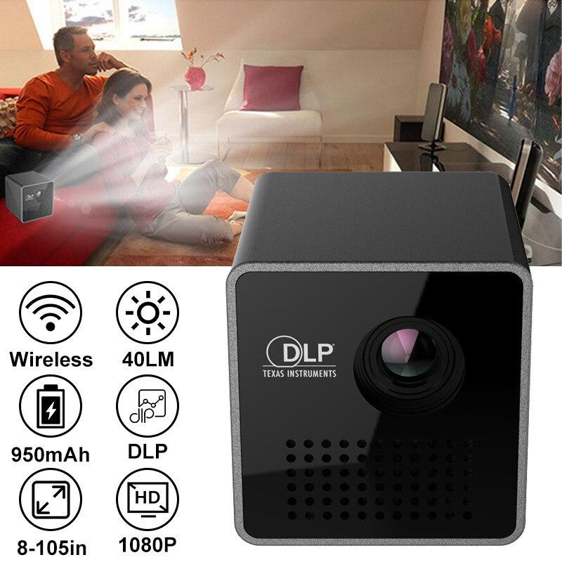 UNIC P1S واي فاي لاسلكي جيب DLP جهاز عرض صغير محمول 40 Ansi لومينز مايكرو Miracast DLNA عارض فيديو UNIC P1 + H واي فاي