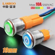 Lanboo 19mm 10A hohe-aktuelle flach kopf 3 pin push button switch mit ring led und power symbol